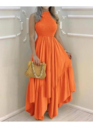 BLACK&GRACE Bayan Yeşil  Full Gıpelı Altı Capraz Elbise Oranj